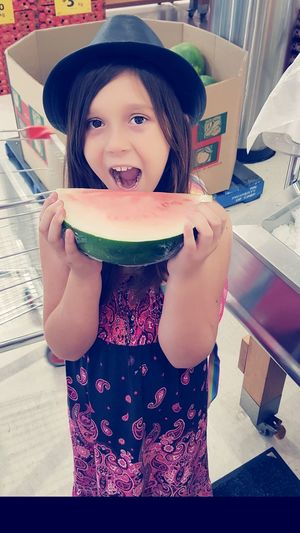 Ayla says she loves it😂 Watermelon Slice Fruit Photography Yummy Girl Shopping ♡ Hanging Out With Family Being Silly Goofy Girl  Mi Princesa  Mi Corazon ❤ Portrait Child Looking At Camera Girls Eating Domestic Life