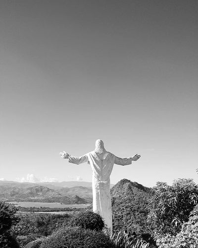 He watches over us all Takemeback Whenintarlac Blackandwhite Landscape Religioussculpture Travelphotography Traluluphilippines