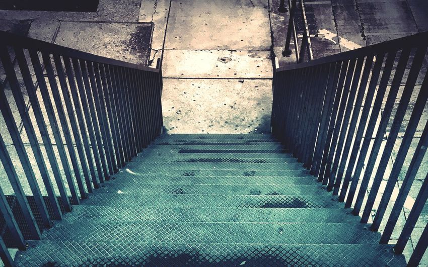 Stairs to lower street level in Chicago. :) Steps And Staircases Staircase Steps The Way Forward Built Structure No People Day Architecture Indoors  Chicago Taking Photos City The Graphic City
