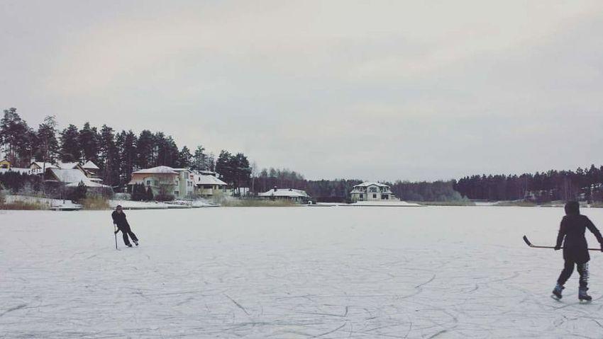 01.01.2016 Latvia Riga Latviabestcountry Ice Snow Wintertime Winter Lake Lake View Hockey Hockey Game
