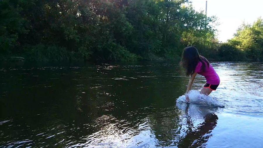Water Tree Child Women Lake Beauty Full Length Rear View Reflection Long Hair