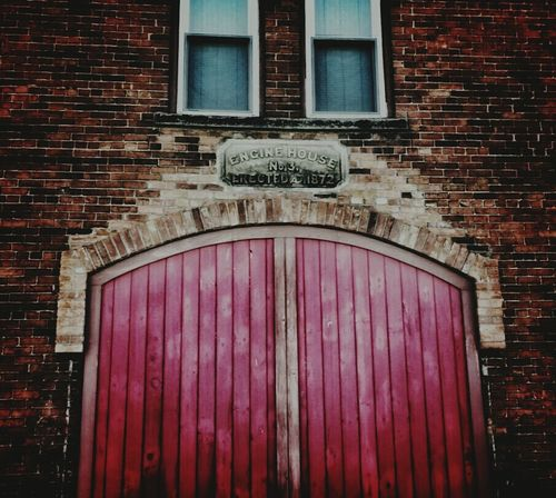 Red Doors Firehouse Antique Building Brick Building Brick Wall Red Red Red! Beautiful Architecture BOB Brick Old Building Architecture_collection Architectural Detail