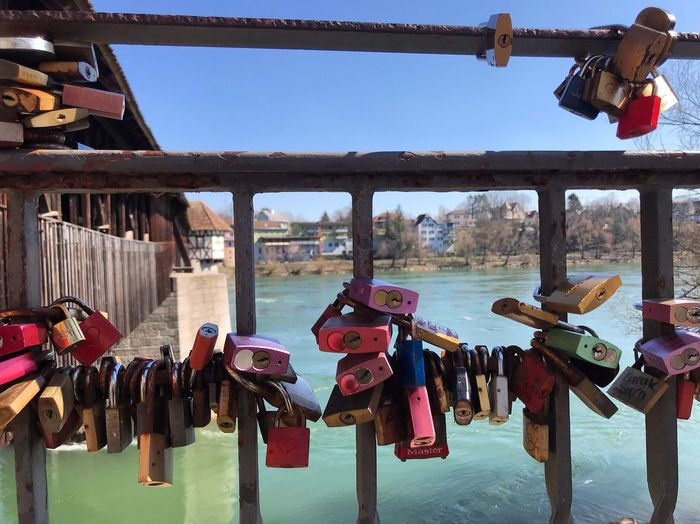 Padlock Hanging Water Lock Built Structure Love Lock Architecture Love Safety Positive Emotion Security Day Nature River Large Group Of Objects No People
