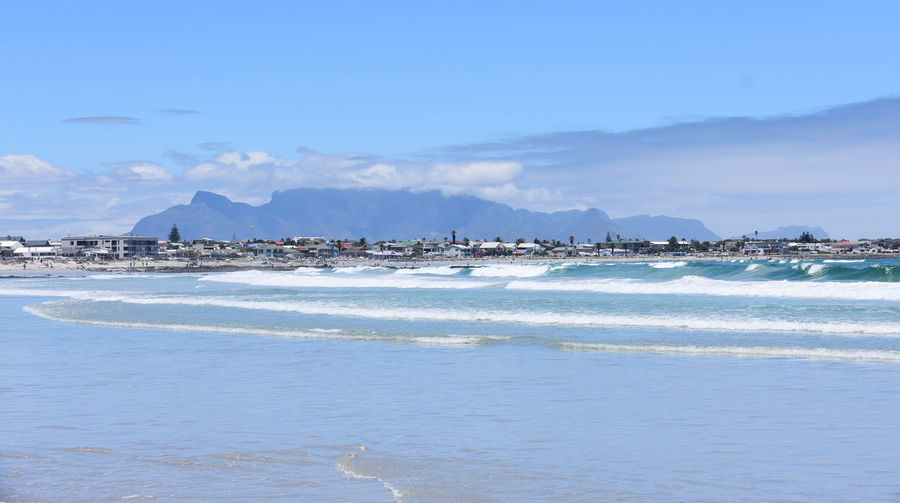 Crisp day at the beach Table Mountain Beach Beauty In Nature Cloud - Sky Day Land Melkbosstrand Mountain No People Outdoors Scenics - Nature Sea Sky Tranquil Scene Water Waterfront Wave