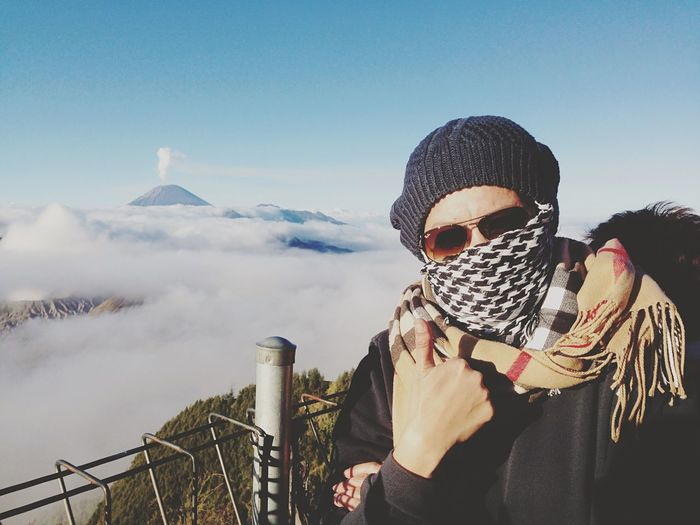 Portrait Of Woman Showing Thumbs Up At Mt Bromo