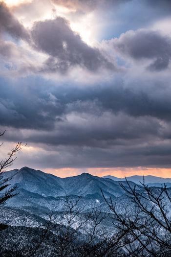 Winter sunset. Cloud Koyasan Japan Nikon Sigma Wether Winter Beauty In Nature Cloud - Sky Landscape Mountain Mountain Range Nature No People Outdoors Sky Snow Sunset Suset Winter