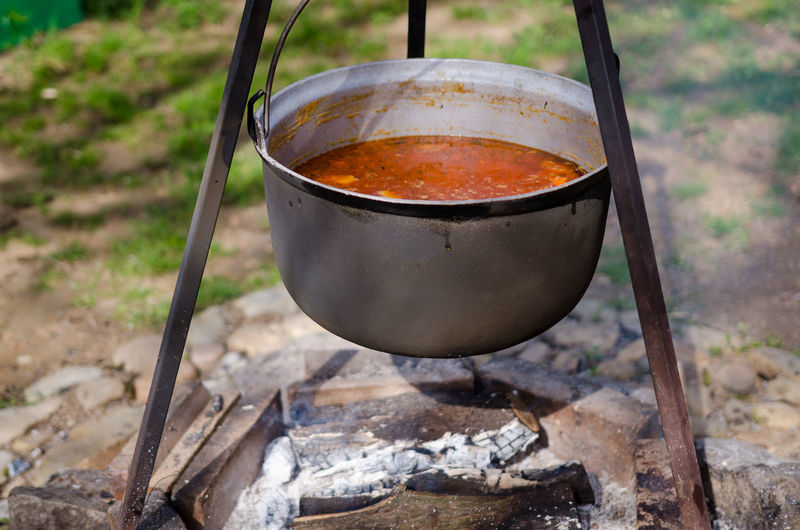 Close-Up Of Food Cooking Over Campfire