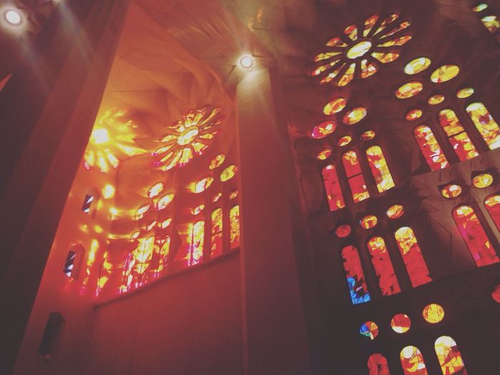 Sagrada Familia Traveling Colors Red Illuminated Indoors  No People Beautiful Sacred IPhoneography Light And Shadow Landmark Wonders Of The World My Year My View Visiting Sunset Architecture