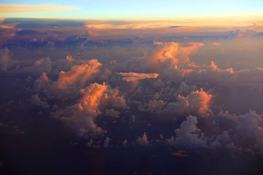 Cloud - Sky Sky Beauty In Nature Scenics - Nature Tranquil Scene Tranquility Nature Sunset No People Orange Color Idyllic Aerial View Outdoors Cloudscape Environment Dramatic Sky Awe Non-urban Scene Day Majestic