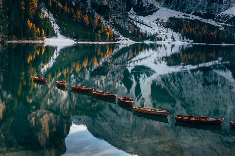 Braies Lake Dolomites Landscape Waterscape Italy Dolomiti Travel Travel Photography Traveler Alps Mountain Sunset Boats Water Scenics - Nature Beauty In Nature Nature Light Autumn Season  Refflections Colors Colors Of Autumn Tourism Destination National Park