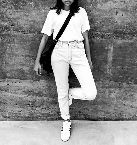 Blackandwhite Street Fashion Portrait Girl Sneakers Street Portrait Black And White Photography Bw Streetphotography StreetStyle, Walls Hide My Face Hiden Art Casual Clothing Person Sneaker Addias Outdoors Jeans