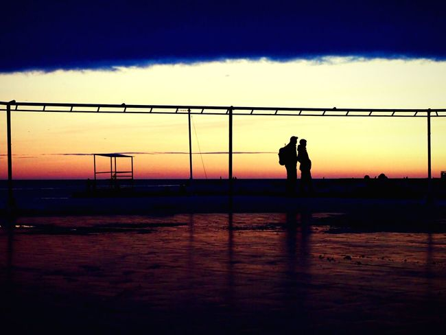 «Закат #9». Silhouette Sunset Sky Two People Standing Water Real People