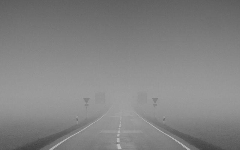 The Road Home Asphalt Bavaria Fog Haze Outdoors Road Spooky Transportation