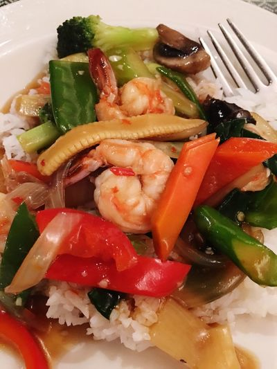 Thai basil shrimp over rice. Food And Drink Ready-to-eat Food Freshness Healthy Eating Plate Indoors  Serving Size No People Vegetable Close-up Day Shrimps Basil Rice - Cereal Plant Thai Healthy Food Food Photography