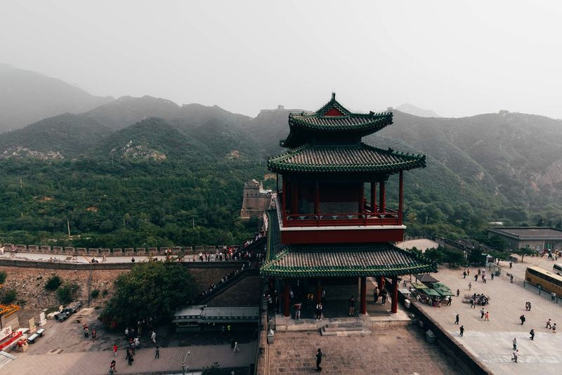 Shot taken of a tower located along the Great Wall of China. Great Wall Great Wall Of China Travel Architecture Australian Photographers Beauty In Nature Building Exterior Built Structure China City Clear Sky Day Eaves Mountain Nature Nature_collection No People Outdoors Place Of Worship Religion Scenics Sky Travel Destinations Tree Week On Eyeem