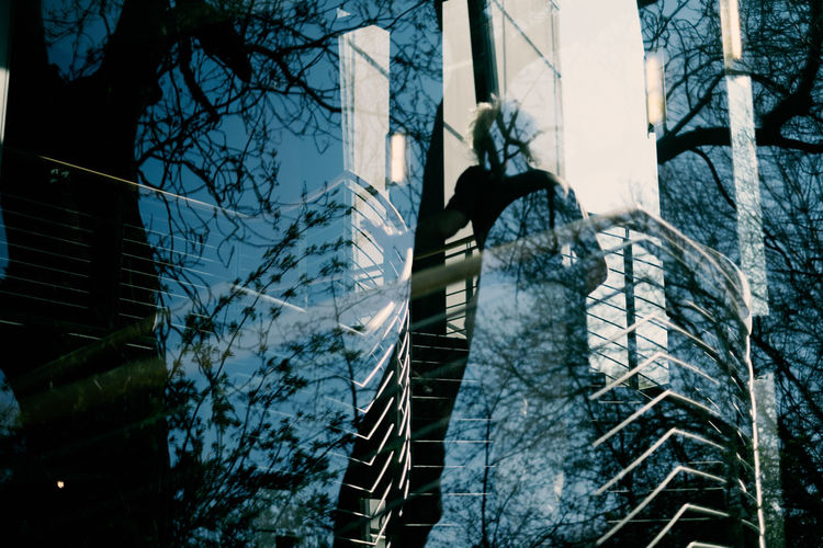 LIGHTS | SHADOWS | REFLECTIONS Tree Architecture Built Structure Plant Real People Nature Building Exterior One Person Day Lifestyles Outdoors Full Length Building Leisure Activity Low Angle View Sky Bare Tree Staircase Winter