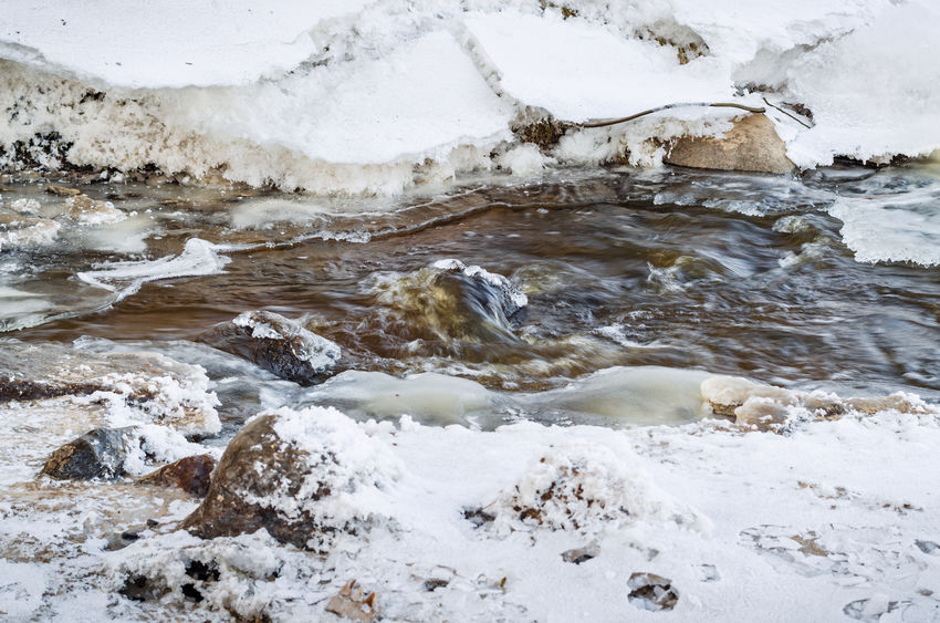Flowing river at winter Beauty In Nature Close-up Day Frozen Nature Global Warming Nature No People Outdoors River Rocks And Water Snow Water