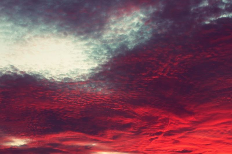 Cloud - Sky Sky Full Frame Beauty In Nature Tranquility No People Tranquil Scene Backgrounds Nature Scenics - Nature Sunset Low Angle View Idyllic Dramatic Sky Outdoors Dusk Pattern Cloudscape Abstract Red