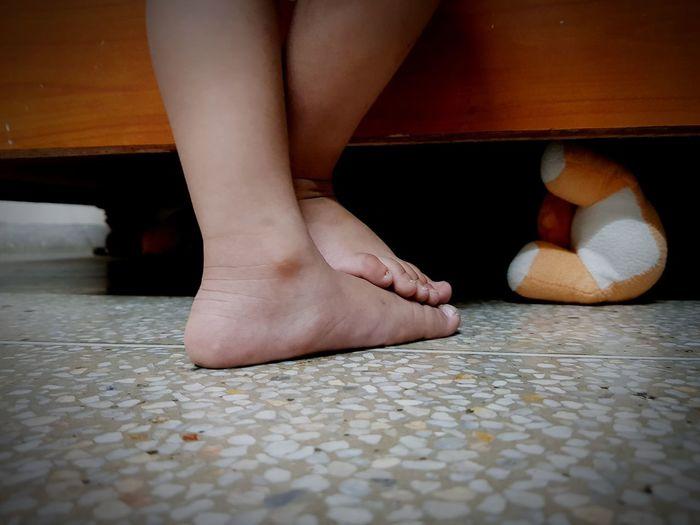 Low Section Young Women Human Leg Human Foot Body Part Close-up