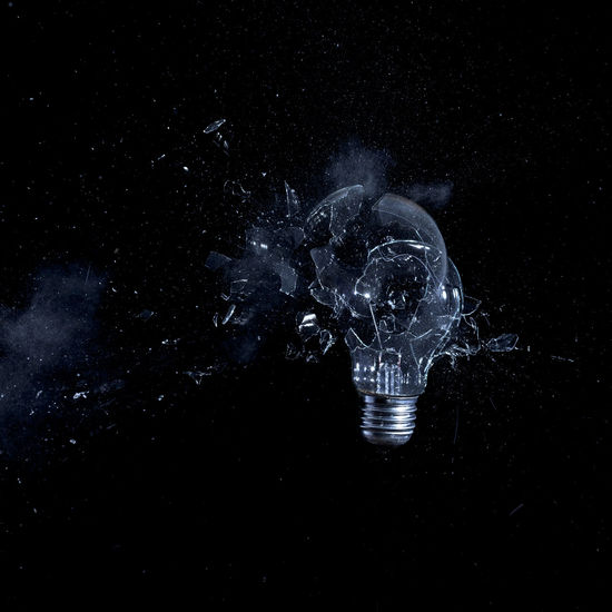 Crash Explosion Bulb Close-up Damaged Exploding Glass - Material Glass Explosion Highspeed Photography Hitting Light Bulb No People Studio Shot