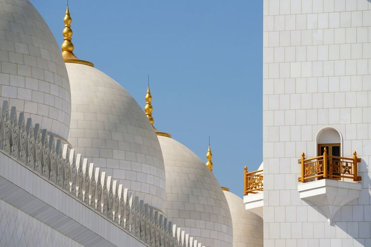 Low angle view on domes of grand mosque