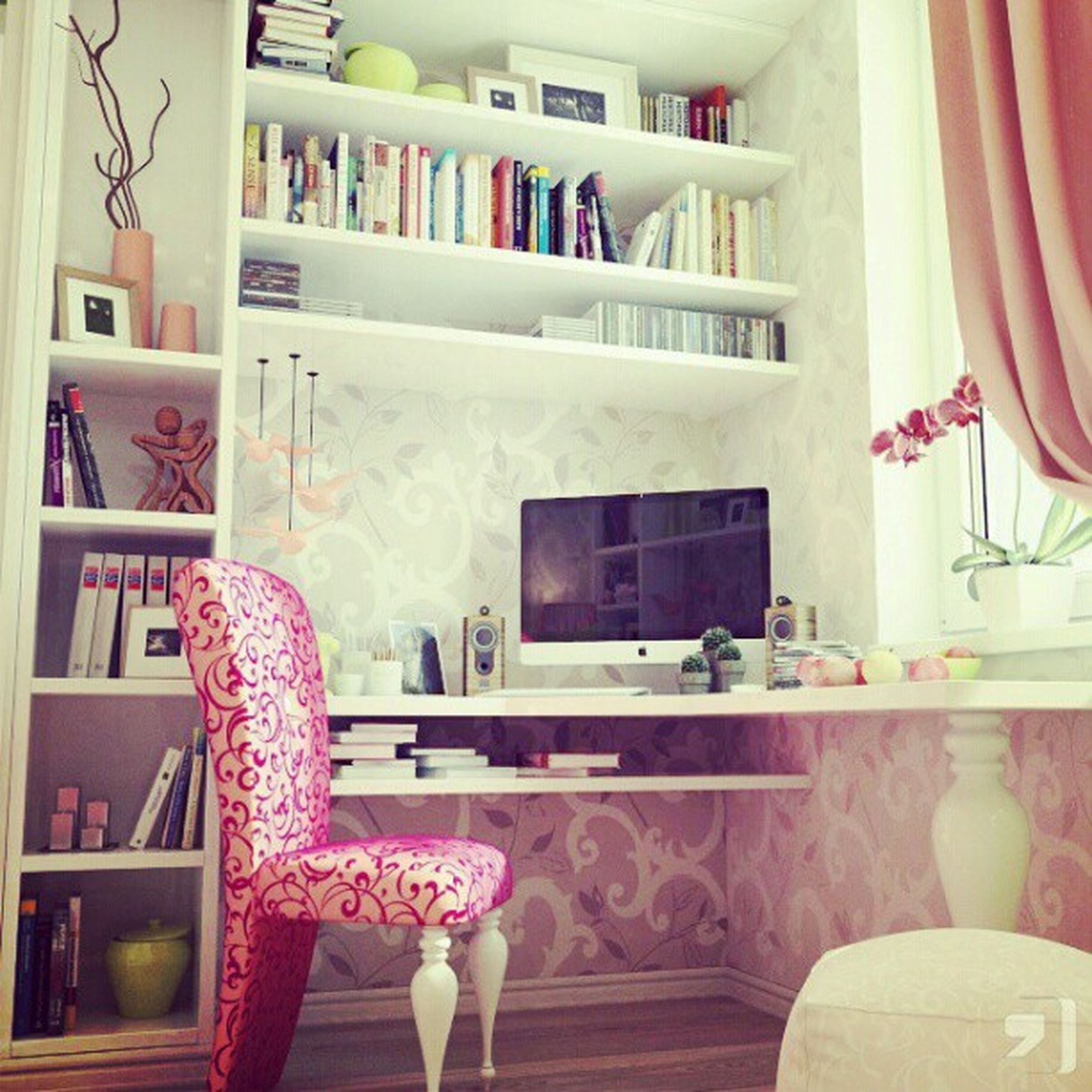 indoors, chair, flower, window, built structure, architecture, table, hanging, variation, decoration, potted plant, clothing, book, day, multi colored, balcony, house, curtain, home interior, no people