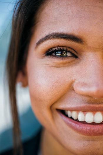 Close-up portrait of happy woman