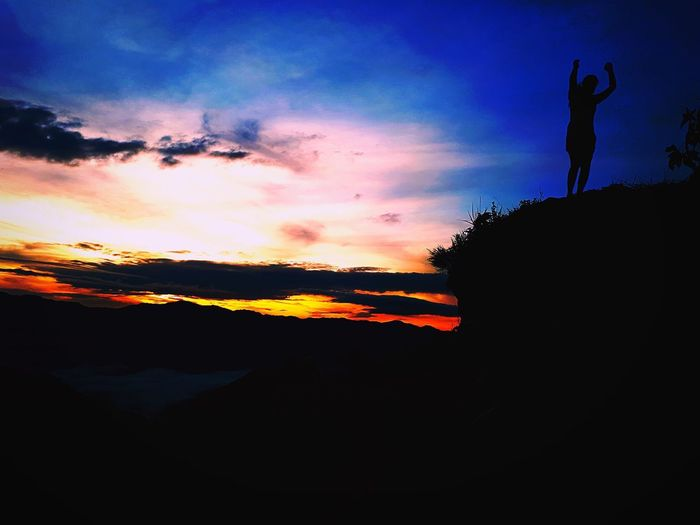 """""""They can conquer who they believe they can."""" - Virgil Mobilephotography Climb Mountain Twilight Silhouette Sunset People One Person Sky"""