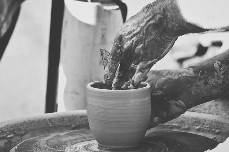 A potter at work Canon7d  Missouri Joplin Third Thursday Potter Pottery Black & White B&w