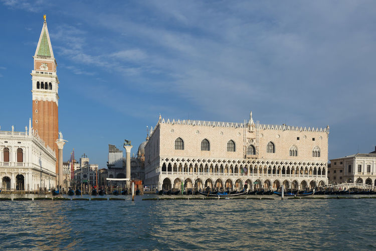 View of st marks square and grand canal against blue sky
