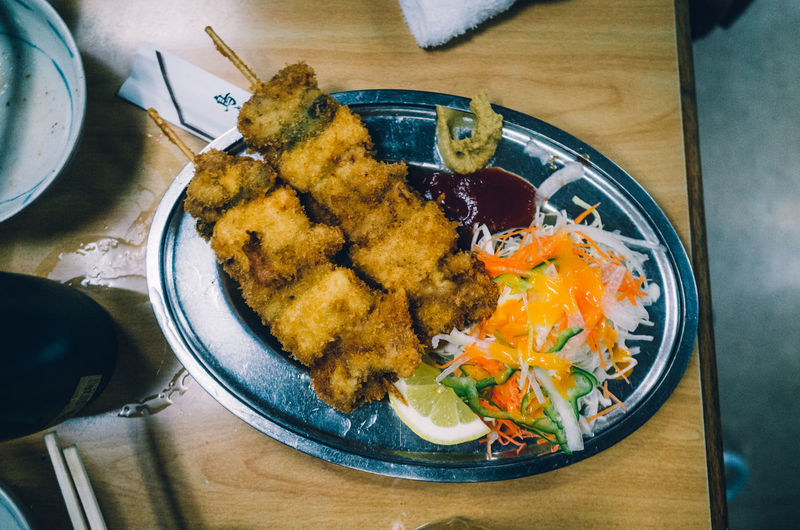 Eating Izakaya Japan Lovers Japanese Food Japanese Culture Kushiage Kushikatsu Meal Salad Bowl Close-up Dinner Directly Above Eat Eating Utensil Food Food And Drink Freshness Fried Healthy Eating High Angle View Indoors  Japanese Food Kitchen Utensil Meal No People Plate Ready-to-eat Seafood Serving Size Still Life Table View From Above Wellbeing