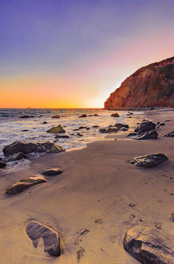 Sunset at Dana Point Beach Photography Sunset_collection Beauty In Nature Day Golden Hour Horizon Over Water Nature No People Outdoors Rock - Object Scenics Sea Sky Sunset Tranquil Scene Tranquility Water The Week On EyeEm