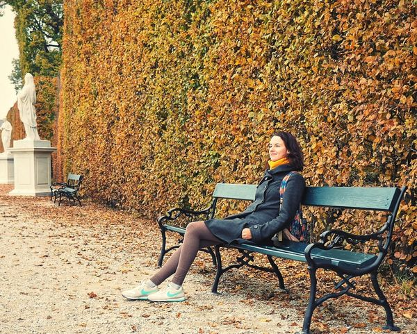 One Person Day Only Women Sitting Full Length One Woman Only Young Adult Adults Only Young Women Adult Outdoors Women People Relaxation One Young Woman Only Nature Vienna Shönbrunn Autumn Park Austria Bench Tree Foliage