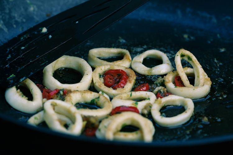 High angle view of fried calamari rings