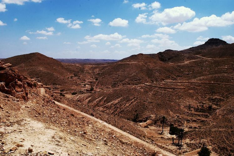 Scenic View Of Atlas Mountains Against Blue Sky