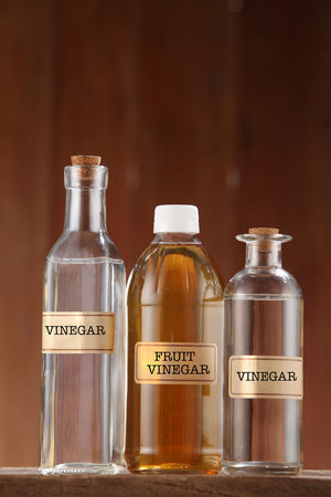 apple cider vinegar and white vinegar on wooden background Container Cooking Cuisine Food And Drink Liquid Acetic Alcohol Apple Cider Vinegar Bottle Clear Closed Condiment Food Glass - Material Healthy Eating Ingredient Label No People Object Organic Transparent Vinegar Water White Vinegar Wooden Background