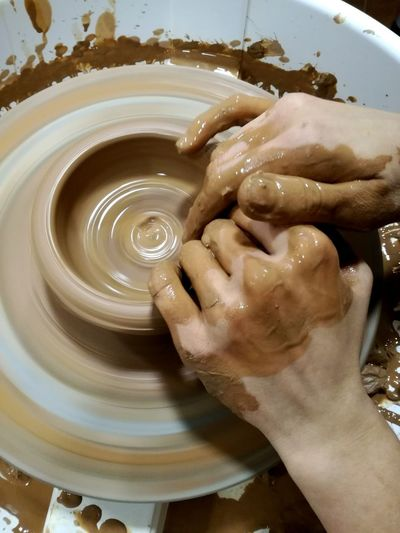 Close-up of hands working