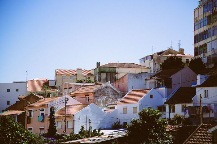 Lisbon Sights Architecture Blue Building Exterior Built Structure City Cityscape Clear Sky Day House No People Outdoors Residential Building Residential District Sky Town Tree