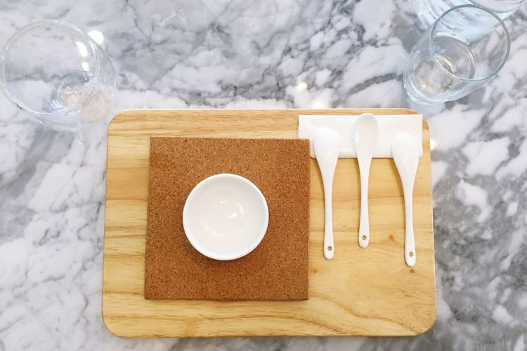 High angle view of place setting on marble