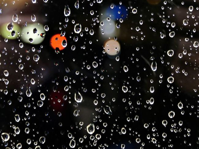 illuminated drops 7 Water Drop Wet Close-up Backgrounds Indoors  No People Full Frame Nature Rain Transparent Glass - Material RainDrop Pattern Focus On Foreground Window Geometric Shape Purity Colors Of Autumn Red Blue