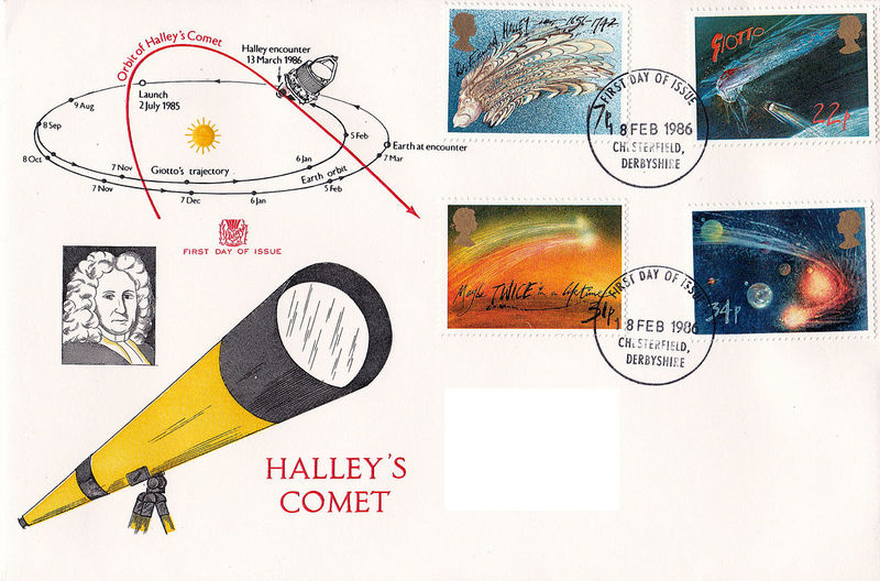 Paper Collage Text Close-up White Background No People Halley's Comet Yellow Telescope Commemorative Stamps First Day Covers