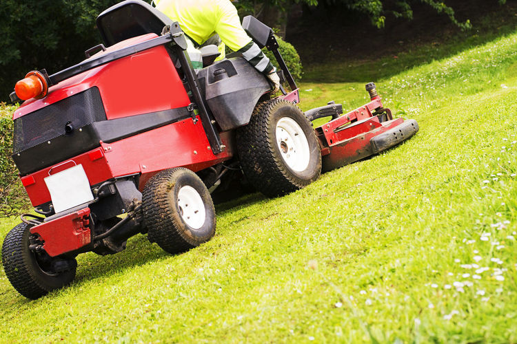 sewer line drainage by professional workers with hose and pressurized water of service truck Mower Lawnmower Gardener Grass Mover Lawn Service Utility Backyard Golf Summer Spring Work Equipment Vehicle Care Cut Electric Home Machine Gardening Green Color