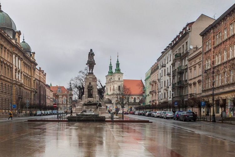 Grunwald Mood Krakow Poland Monument Architecture Built Structure Building Exterior Sky Statue Day Water Cloud - Sky City Sculpture