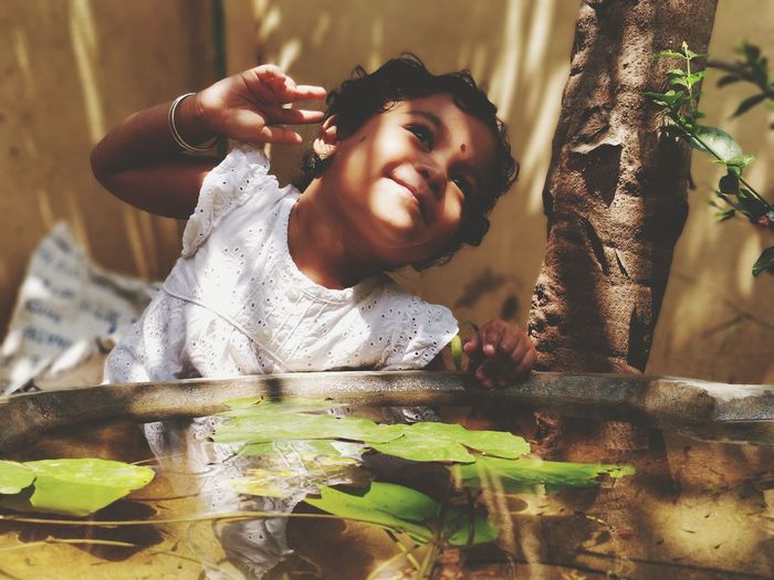Baby Kids Childhood Child Play Water Garden Pond Shadows & Lights Sunlight Afternoon Outdoors Emotion Laughing Smile Girl Action Nature Happy Happiness Joy Cute Adorable EyeEmNewHere