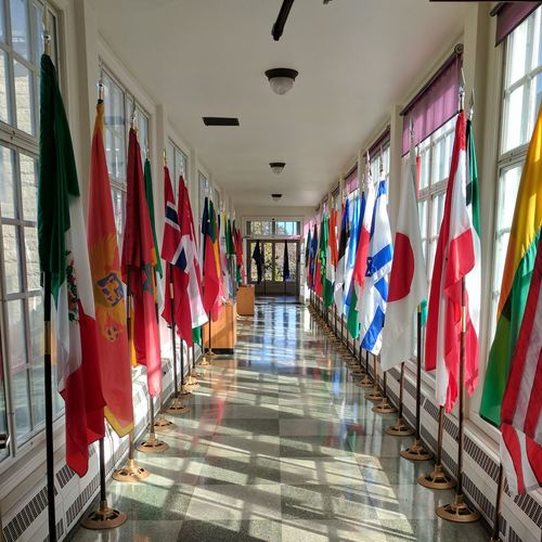 Rows of Flags Hanging Multi Colored Built Structure Indoors  Architecture Day No People City Flags