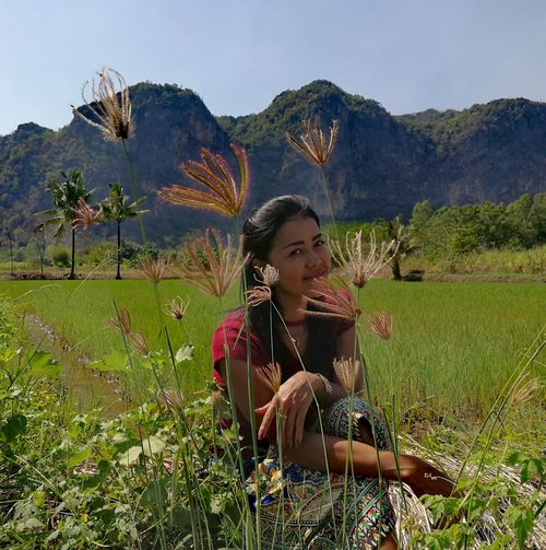 Woman One Person Mountain Plant Grass Sky Flower Adult People Nature Outdoors Thailand🇹🇭 2018 Day EyeEmNewHere Tranquility Smiling Looking At Camera Sitting Summer Growth Beauty In Nature ❤️❤️