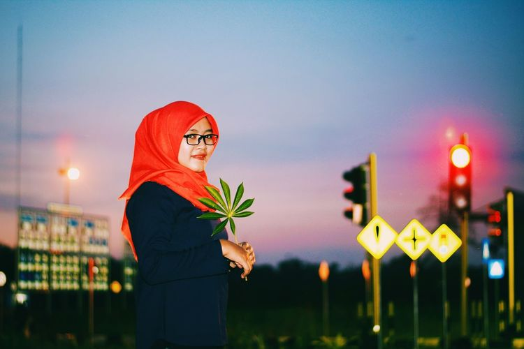 Sunset & Hijab Night One Person People One Woman Only Only Women Outdoors Nature City Sky Hijab Slawi Tegal Wanita