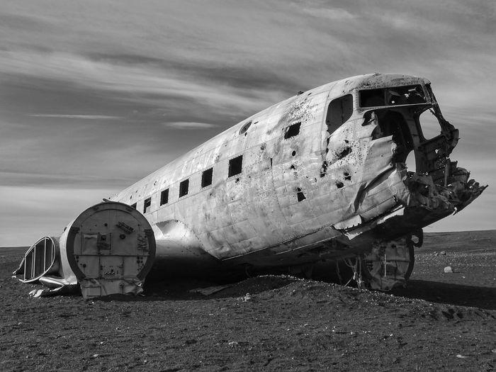 Jetplane Wreck Plane Airplane Wreck Blackandwhite Sky Silhouette Nopeple Winter Rocks Old EyeEmNewHere