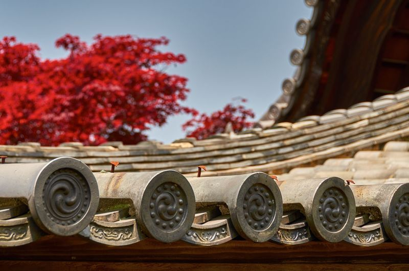 Low angle view of tofuku-ji temple roof against sky