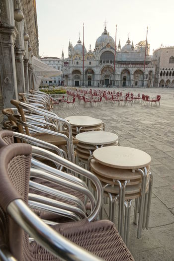 San Marco Square, early morning Architecture Building Exterior Chair City Clear Sky Day Famous Place In A Row Incidental People Place Of Worship Religion San Marco Square San Marco Venezia Sunlight Tourism Travel Destinations First Eyeem Photo